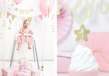 Deine Tochter wird 1! Dazu passende Partydeko in Rosa und Gold findest du in unserem Shop