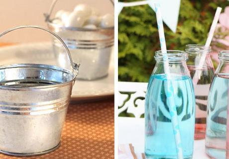Metall-Eimer und Milchflaschen als ländliche Deko für die Bauernhofparty