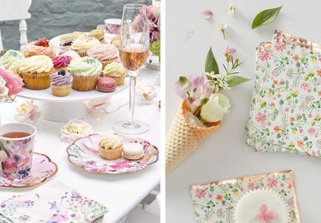 Feier eine florale Babyparty mit niedlichen Blumenmotiven und passenden Köstlichkeiten