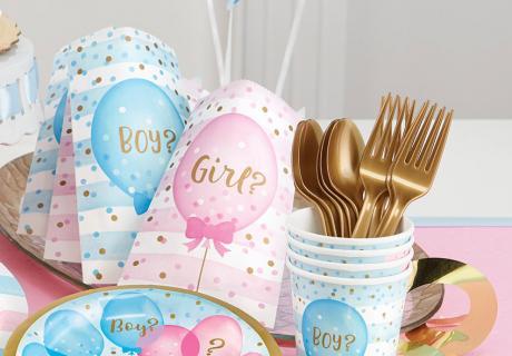 In diese Papiertüten passen eure kleinen Mitgebsel und Geschenke zur Gender Reveal Party hervorragend hinein
