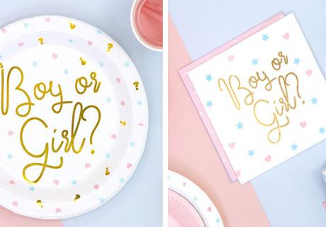 Mit den süßen Schriftzügen in Gold bleibt es auf deiner Gender Reveal Party spannend bis zum Schluss
