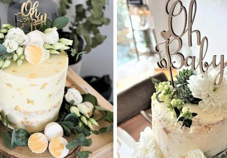 Greenery-Babyparty - auch der Kuchen sieht natürlich aus - links (c) frauvallera, rechts (c) myboys_and_i