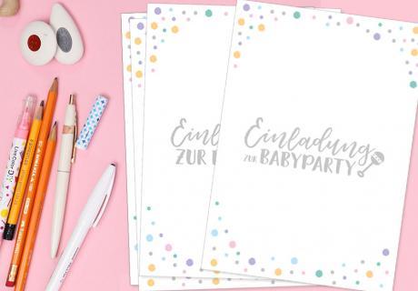 Lade zur Babyparty ein mit Gratis-Einladungskarten auf Deutsch