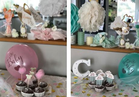 Deko für Cupcakes und Co.: Schöne Picks in Rosa und Mint für die neutrale Babyparty © c.loves.c