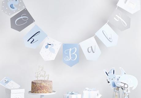 Klassische Blautöne & Babymotive für deine Jungen-Babyparty