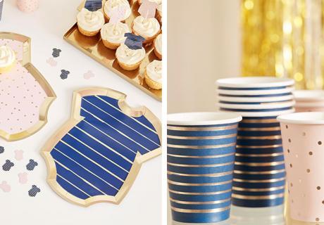 Süße Babyparty-Motive in Rosa, Blau & Gold erschaffen eine herrlich moderne Deko