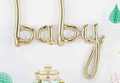 """Mit dem """"Baby"""" Script-Ballon in Metallic Gold glänzt deine Party"""