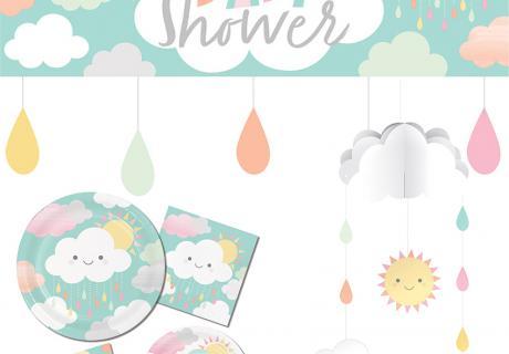 Babyparty- und Kinderzimmer-Deko mit Wolken und Sonne