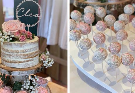 Auch der Sweet Table muss nach Vintage-Taufe aussehen! Perfekt mit Naked Cake und Blumen (c) c.loves.c