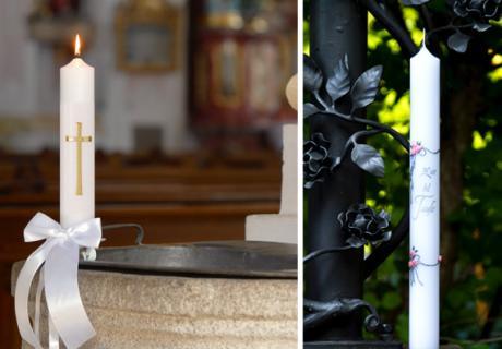 In unserem Shop findet ihr auch Taufkerzen mit Kreuz als Geschenkidee zur Taufe