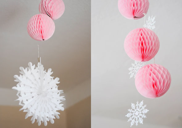 Rosa Wabenbälle und Schneeflockenfächer für den 1. Geburtstag
