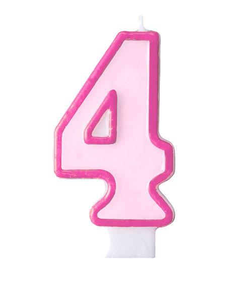 """Geburtstagskerze """"4"""" - rosa/pink"""