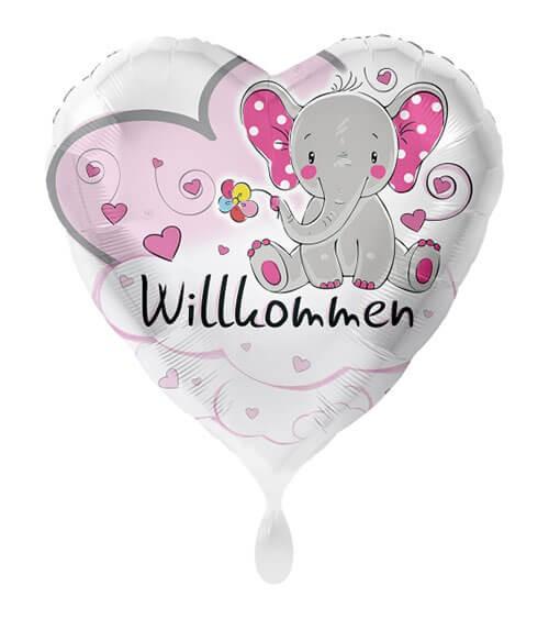 "Herz-Folienballon mit Elefant ""Willkommen"" - rosa - 43 cm"