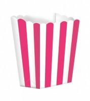Popcornboxen mit Streifen - pink - 5 Stück