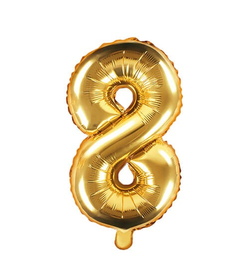 "Folienballon Zahl ""8"" - gold - 35 cm"