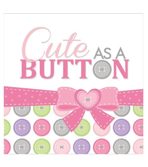 "Servietten ""Cute as a Button - Girl"" - 16 Stück"
