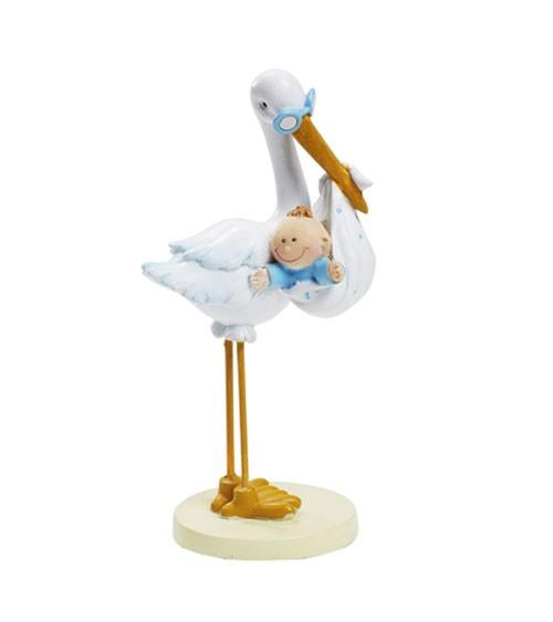 """Figur """"Storch mit Baby Boy"""" - 11 cm"""