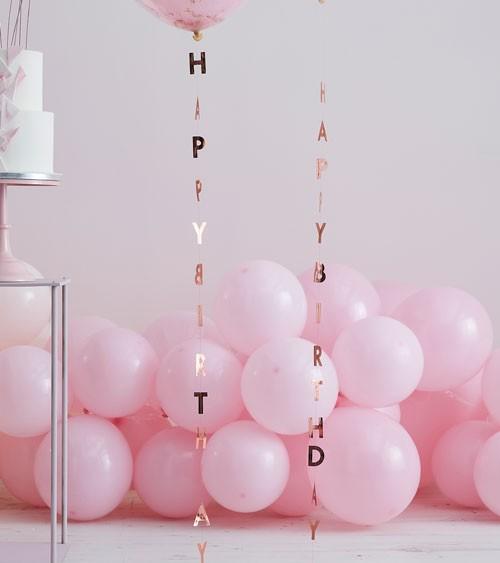 Vertikale Happy Birthday Girlanden - rosegold - 1 m - 5 Stück