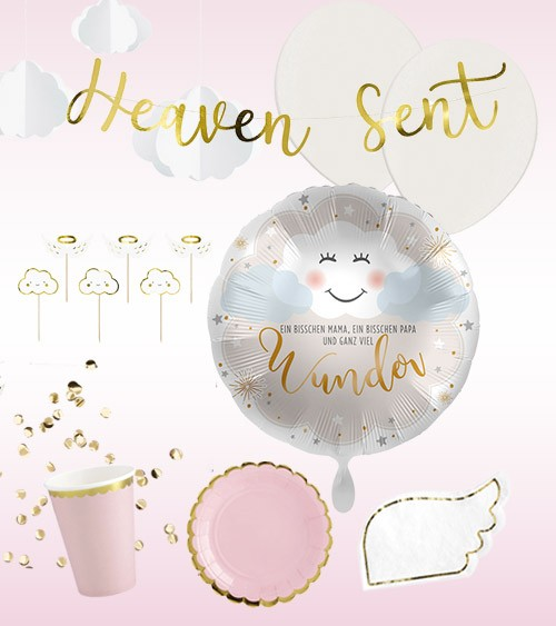 "Taufe Deko-Set ""Heaven"" - rosa - 49-teilig"