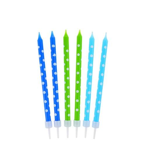 Kuchenkerzen mit Punkten - blau & grün - 10 cm - 24 Stück
