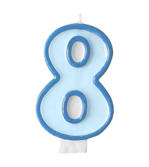 """Geburtstagskerze """"8"""" - hellblau/dunkelblau"""