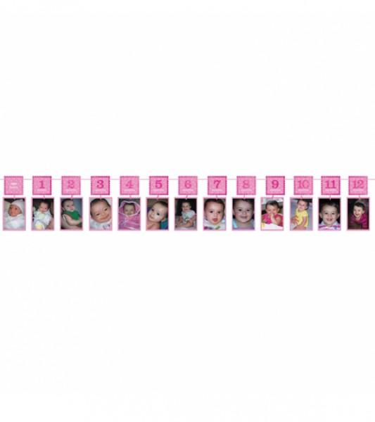 "Glitter-Fotogirlande ""1st Birthday"" - rosa - 3,65 m"