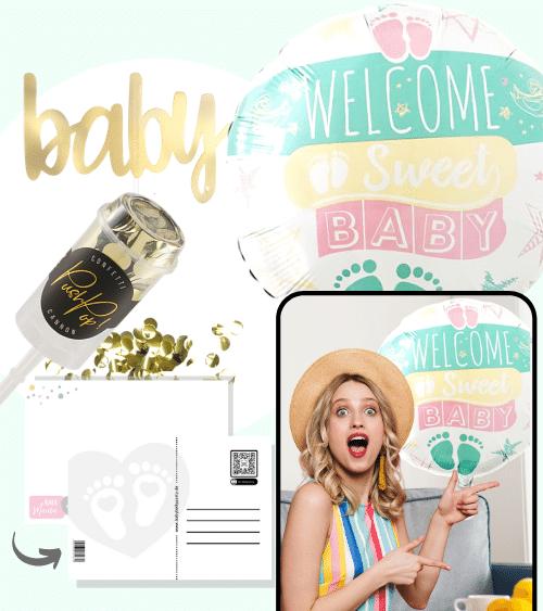 "Virtuelle Babyparty Set mit Folienballon ""Welcome Sweet Baby"" - 4-teilig"