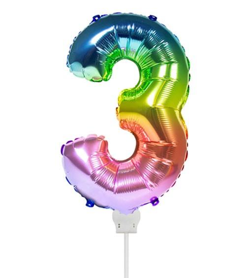 "Folienballon Zahl ""3"" - rainbow - 36 cm"
