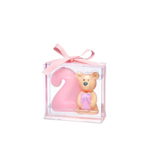 Kerze 2. Geburtstag mit Teddybär - rosa