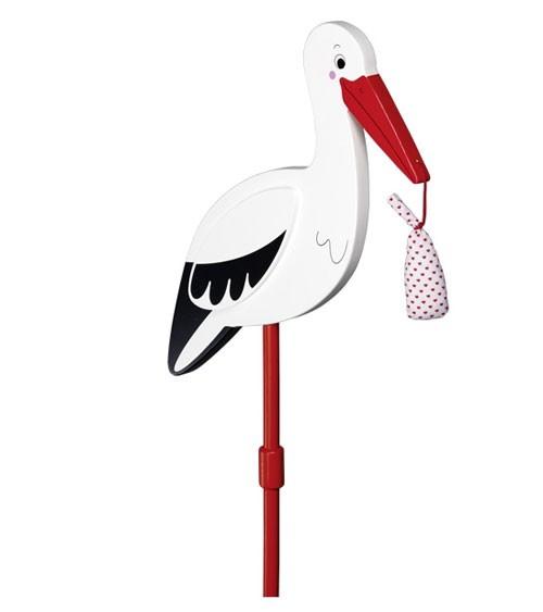 """Blumenstecker """"Storch"""" mit Babytuch - 77 cm"""