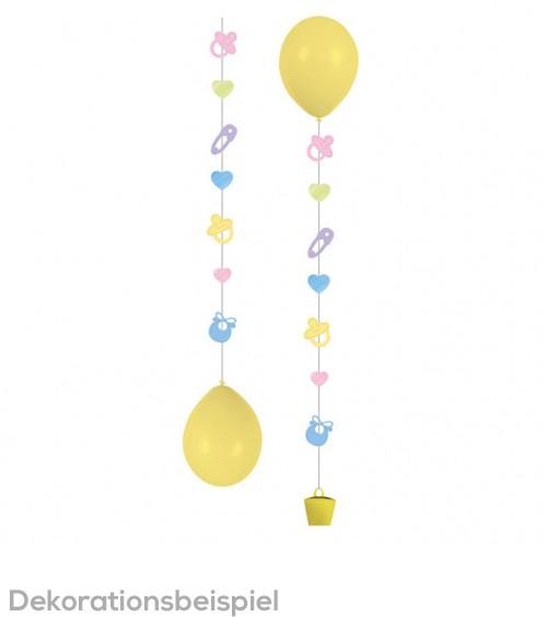 """Hängegirlande für Ballons """"Babyaccessoires"""" - pastell - 3 Stück"""