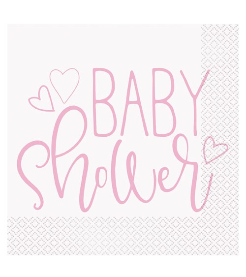 "Servietten ""Baby Shower - rosa"" - 16 Stück"