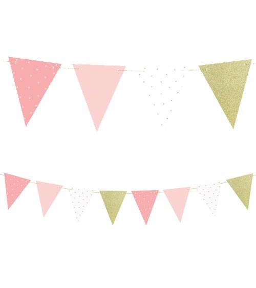 DIY-Wimpelgirlande aus Papier - rosa/gold - 1,3 m