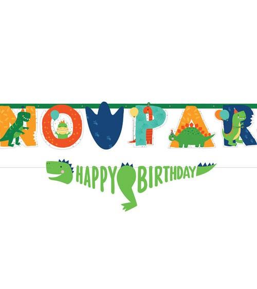 "Jumbo-Girlanden-Set mit Zahlen ""Happy Dino Birthday"" - 2-teilig"