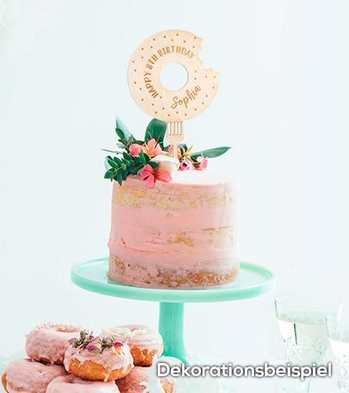 """Dein Cake-Topper """"Donut"""" aus Holz - Wunschtext"""