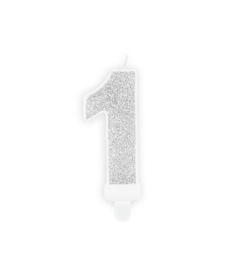 "Zahlenkerze mit Glitter ""1"" - silber - 7 cm"