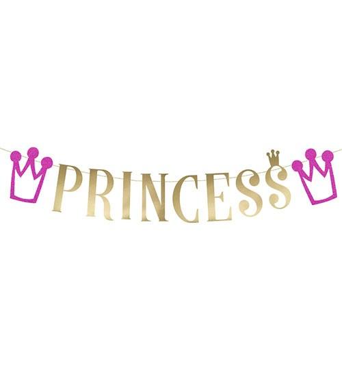 "Schriftzuggirlande ""Princess"" - metallic gold/pink - 90 cm"