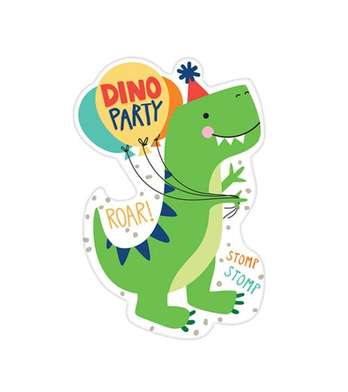 """Einladungskarten """"Happy Dino Birthday"""" - 8 Stück"""