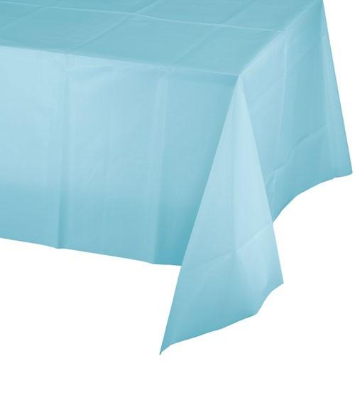Pastellblaue Kunststoff-Tischdecke - 137 x 274 cm