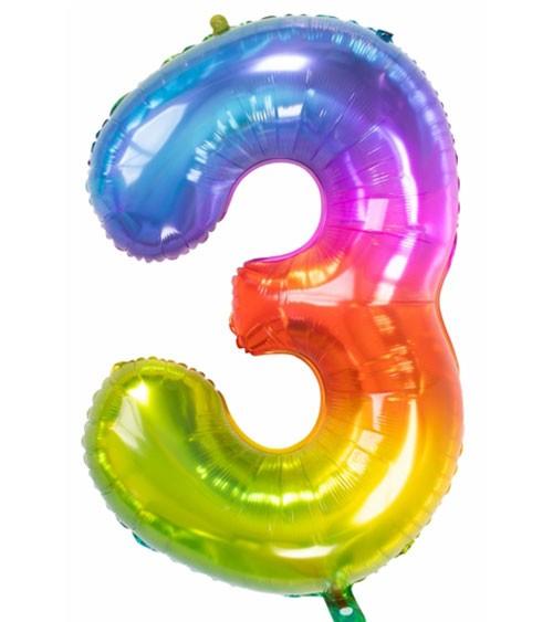 "Zahl-Folienballon ""3"" - Yummy Gummy Rainbow - 86 cm"