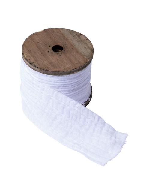 Dekoband aus Baumwollmull - weiß - 4,5 cm x 3 m