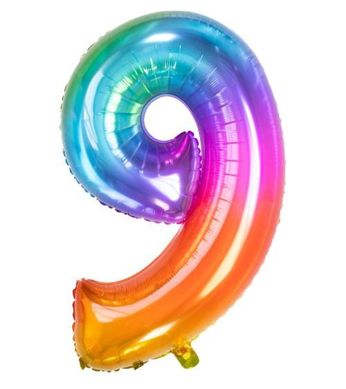 "Zahl-Folienballon ""9"" - Yummy Gummy Rainbow - 86 cm"
