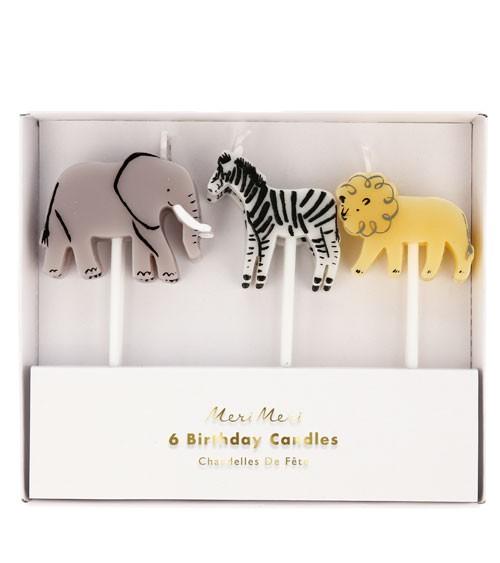 """Kuchenkerzen-Set """"Safari Animal"""" - 6 Stück"""