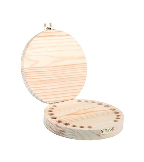Runde Holzbox für Milchzähne - 12 cm