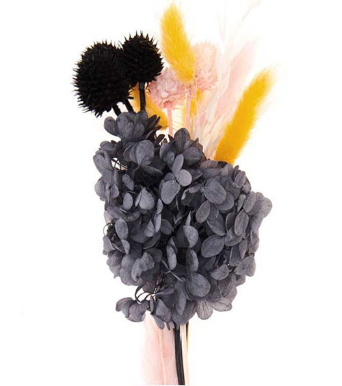Trockenblumen-Set - pastell schwarz - ca. 30 cm