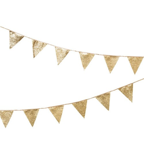 Wimpelgirlande - glitter gold - 3 m