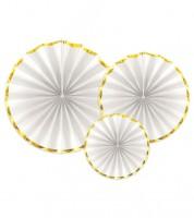 Papierfächer-Set mit Goldrand - weiß - 3-teilig