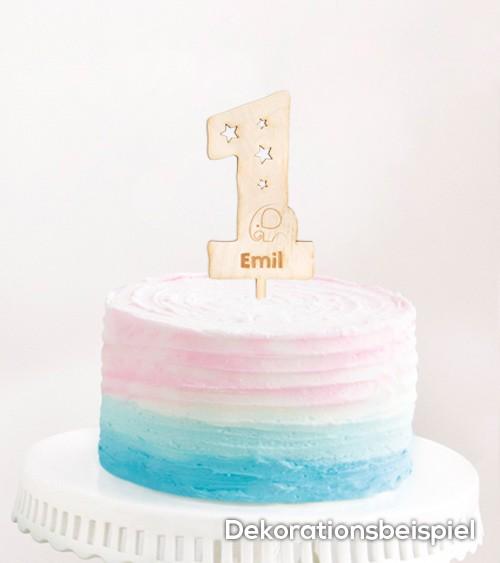 """Dein Cake-Topper """"1. Geburtstag - Elefant"""" aus Holz - Wunschtext"""