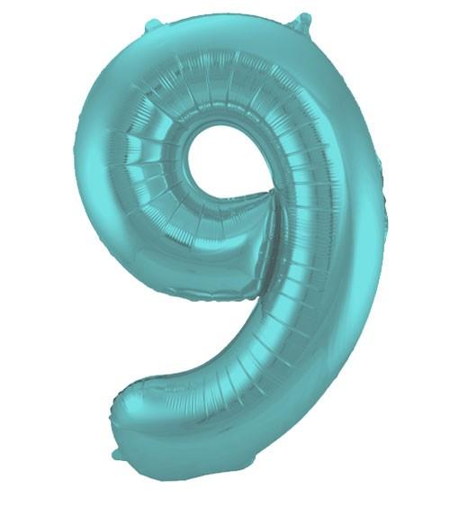 "Zahl-Folienballon ""9"" - matt pastel mint - 86 cm"