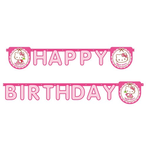 "Happy Birthday-Girlande ""Hello Kitty"" - 2 m"